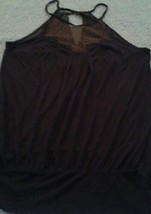 Anthropologie Deletta Navy/Marin Sleeveless W/Shimmery Sheer Gold Blouse Top - $32.13