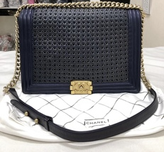 AUTH CHANEL LIMITED EDITION BLUE CUBE QUILTED LAMBSKIN LARGE BOY FLAP BAG GHW