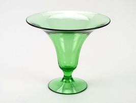 Fostoria 2292 Green Trumpet Vase, Vintage Elegant Glass Depression Era 7... - $19.60