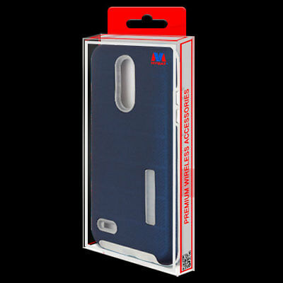 Ink Blue Dots Textured/Clear Fusion Case Cover for LG Tribute Empire/Aristo 3