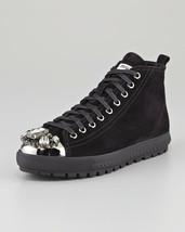 Miu By Prada Schwarz samt Kristall Sneakers Hohe Reißverschluss Flacher ... - $396.28