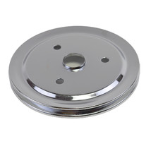 CHEVY SMALL BLOCK SINGLE-GROOVE STEEL SHORT WATER PUMP CRANKSHAFT PULLEY CHROME image 2