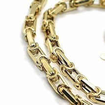 18K YELLOW GOLD CHAIN BIG ALTERNATE OVALS 7 MM 24 INCHES, SQUARED NECKLACE SHOWY image 2