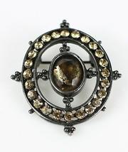 Vintage ANNE KLEIN Onyx Amber Chocolate Stone Signed Costume Jewelry Bro... - $13.26