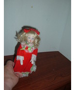 "Porcelain Christmas Doll Blonde Hair,bendable legs Arms 8"" - $3.94"