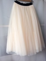 NUDE CREAM Maxi Length Full Tulle skirt Elastic Plus Size Bridesmaid Skirt