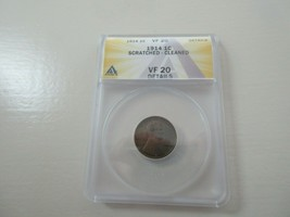 1914 Lincoln Penny , VF 20 , Scratched-Cleaned  , ANACS - $9.90