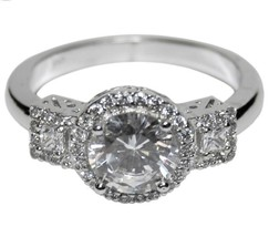 The Look Of Real Round Cut Side Stone Bridal Clear Cubic Zirconia Ring - $34.99