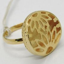 18K YELLOW GOLD RING FINELY WORKED FLOWER CIRCLE CENTRAL DAISY SUN MADE IN ITALY image 3