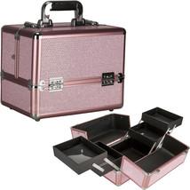 Pink Krystal 2-Tiers Accordion Trays Makeup Cosmetic Case - C4211 - $59.99