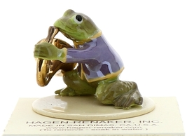 Hagen-Renaker Miniature Ceramic Frog Figurine Toadally Brass Band French Horn image 4