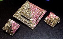 Vintage Egyptian Pink & Grey Rhinestone Pyramid Pin Brooch & Earring Set - $60.60