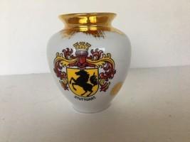 "STUTTGART  Vase Germany Vintage Gold Trim White 3 1/4"" Wide Three 3 3/4""... - $9.89"