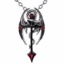 Draconkreuz Medieval Black Cross Dragon Pendant Red Crystals Alchemy Gothic P417 - $44.95