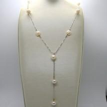 18K WHITE GOLD LARIAT NECKLACE, VENETIAN CHAIN ALTERNATE PEACH PEARLS 8.5 MM image 2