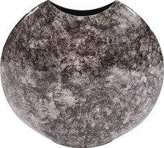 Vase HOWARD ELLIOTT Disc Round Small Black Marbled Marble - $189.00