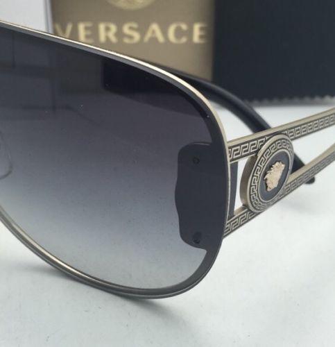 fbfe90dbd1a69 New VERSACE Sunglasses VE 2166 1252 8G 140 Gold   Black Shield Frame w