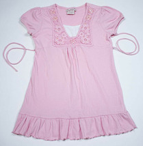 KNIT WERKS GIRLS SIZE LARGE L 14 PINK TOP SEQUINS BEADS SHIRT FLORAL LACE  - $12.86