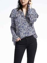 Banana Republic Easy Care Multi Flounce Shirt Top Blue Polyester Size M NWHT - $39.99