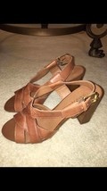 Franco Sarto brown leather woven sandal   Size 7  adjustable buckle strap - $15.49