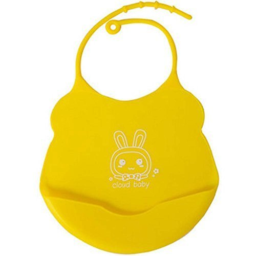 2 Pcs Yellow Mother Essential Cartoon Silica Waterproof Pocket Baby Bibs