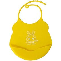 2 Pcs Yellow Mother Essential Cartoon Silica Waterproof Pocket Baby Bibs image 1