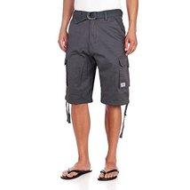 JMC Men's Premium Cotton Slim Fit Cargo Shorts With Woven Belt (34W, Charcoal)