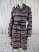 Elevenses Anthropologie Coat 4 Mauve Taupe Gray Striped Acrylic Poly Wool Blend - $187.11