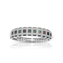 Belle Etoile Regal Mother-of-Pearl Bangle, Black or White, Sterling Silv... - $719.00+