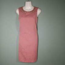 Ellen Tracy Women's Sleeveless Dress Coral Sequin Neckline Size 2 MSRP $128 - $24.75