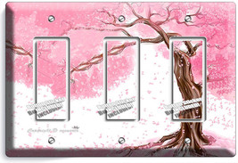 JAPANESE SAKURA TREE ROOT CHERRY BLOSSOM GFI TRIPLE LIGHTSWITCH PLATE RO... - $16.17