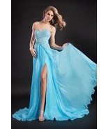 Breathtaking Beaded Sexy Strapless Blue Pageant Prom Silk Gown Prima Don... - €659,16 EUR