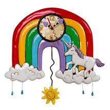 Allen Designs Rainbows & Unicorns Pendulum Whimsical Battery Operated Wa... - $56.00