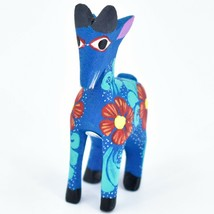 Handmade Alebrijes Oaxacan Wood Carving Painted Folk Art Mountain Goat Figurine  image 2