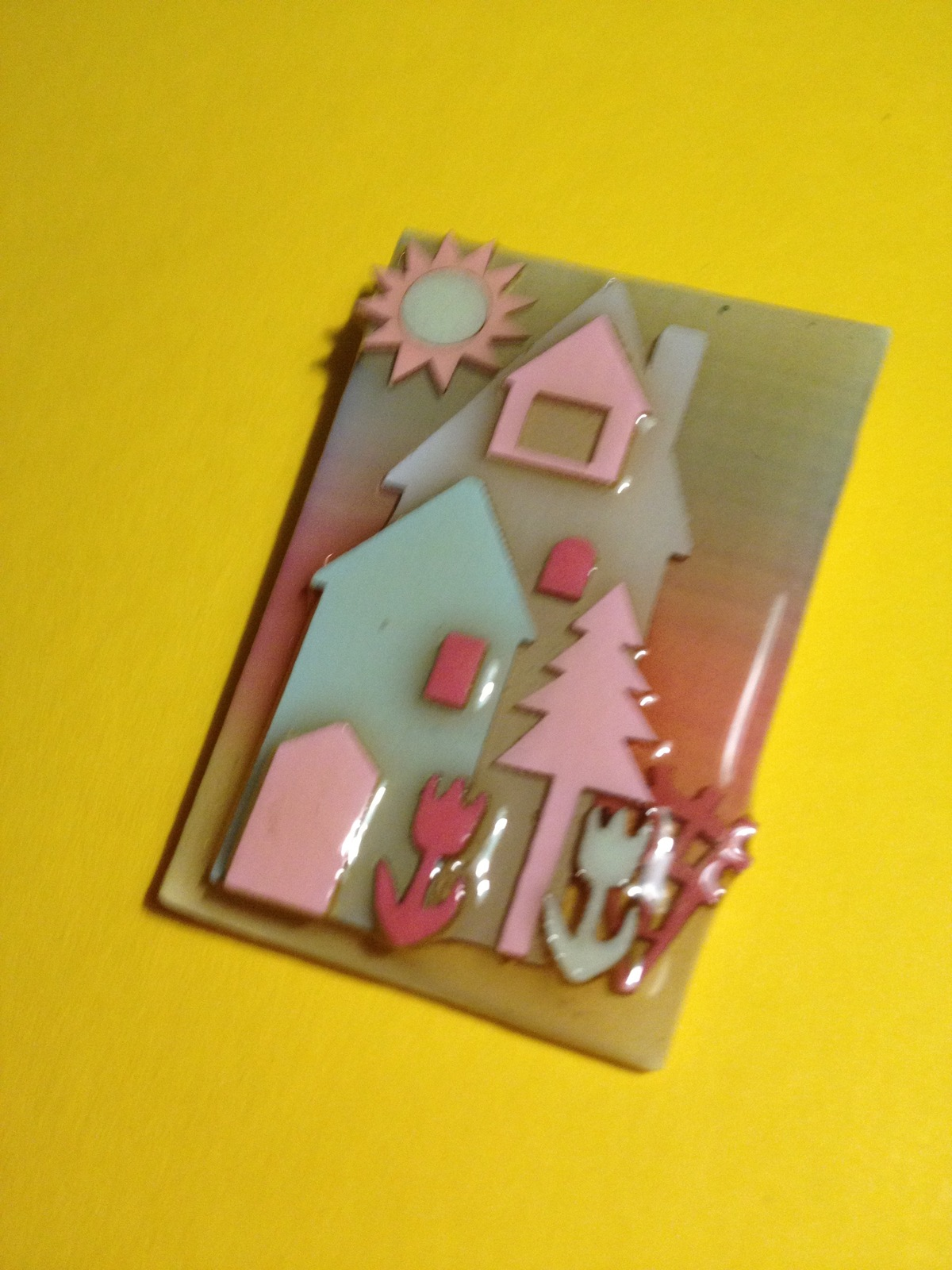 HOUSE PIN by Lucinda - one of a kind - Maine artist - FREE SHIPPING