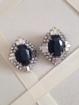 Vintage Elegant Crystal Onyx Rhinestone Fashion Clip On Earrings - $40.00