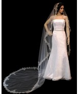 Swarovski Rhinestone Embroidered Cathedral Bridal Veil White Ivory Champ... - $134.95