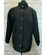 Gallery Women Black Quilted Button Up Coat Jacket Size 2X Zip Pockets Ca... - $48.88