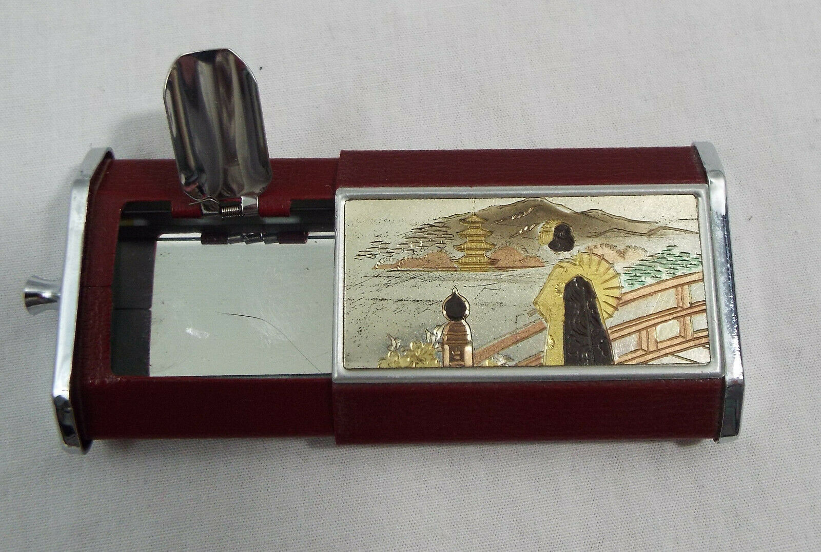 Primary image for Vintage Pocket Ashtray with Asian with an Inlay and Etched Design