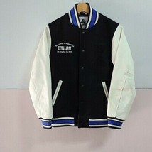 [XLARGE Wool x sleeve cow leather stadium jacket]S, shoulder width40,bla... - $326.69