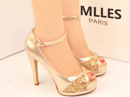 84H075 Awesome gold strappy ankle pumps, HASP Size 2-8.5, gold - $72.80