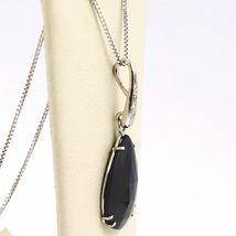 Necklace White Gold 750 18K, Drop Black Spinel, Diamond Chain, Veneta image 5