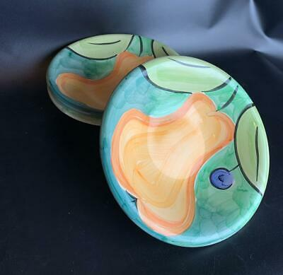 "Primary image for Set of 3 Bob Mackie Pears & Plums, Green Rim, No Trim 8.75"" Soup Pasta Bowls"