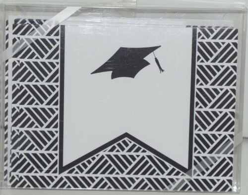 Rosanne Beck 211 0954BLK Folded Note Grad Cap Black Cards and Envelopes Pkg 10
