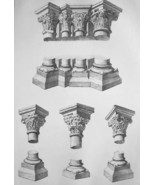 FRANCE Laon Cathedral Capitals & Column Details - SUPERB 1843 Antique Print - $18.00