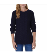 Nautica Women's Chunky Cable Knit Sweater Navy Sz M - $21.79