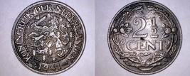 1941 Netherlands 2 1/2 Cent World Coin - Wilhelmina I - $7.99