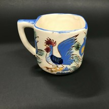 Nasco Japan Hand Painted Rooster Coffee Mug Cup Handpainted Floral Flowers - $14.99