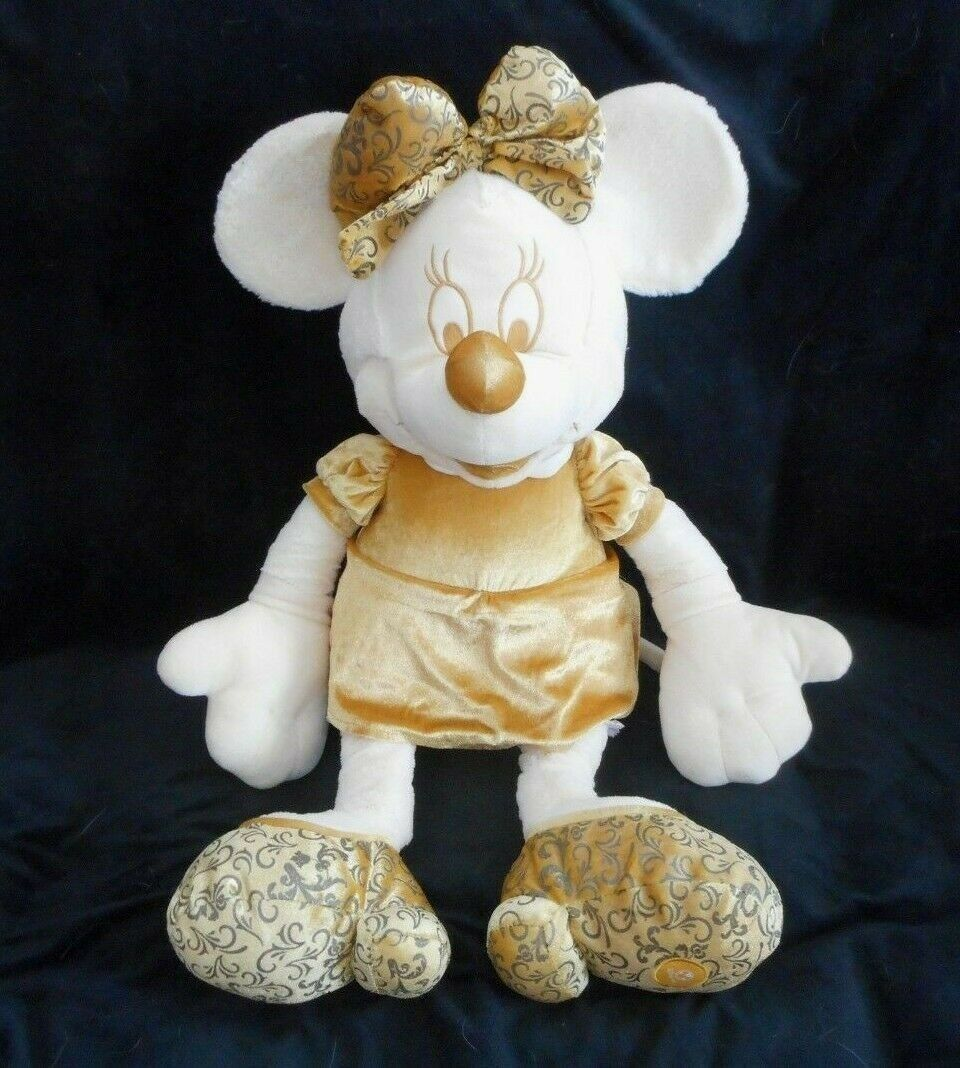 "28"" BIG DISNEY STORE GOLD & CREAM MINNIE MOUSE STUFFED ANIMAL PLUSH TOY DOLL"