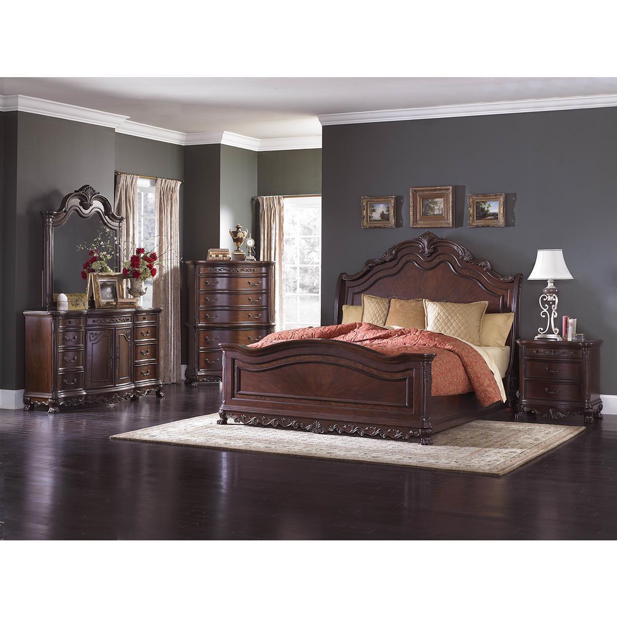 Dublin 5 piece queen sleigh bedroom set in cherry bed - 5 piece queen sleigh bedroom set ...